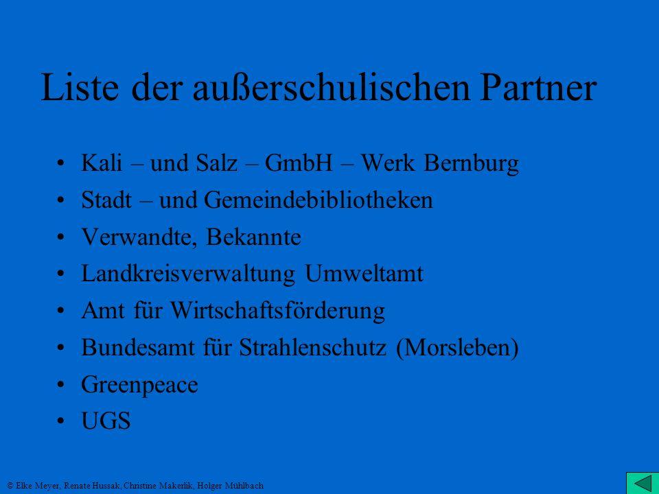 Liste der außerschulischen Partner
