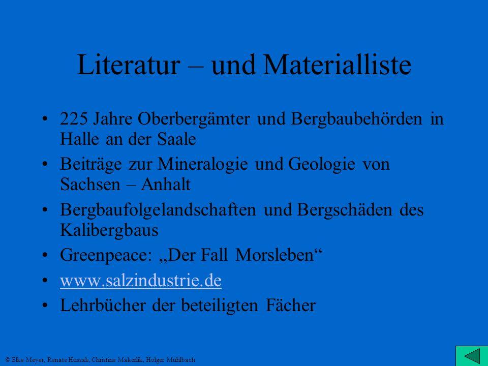 Literatur – und Materialliste