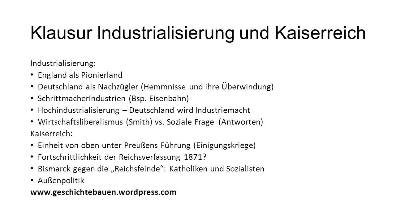 Klausur Industrialisierung und Kaiserreich