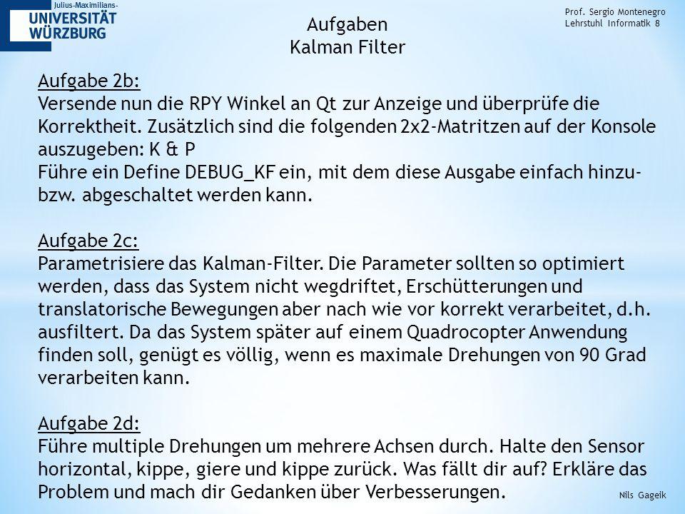 Aufgaben Kalman Filter Aufgabe 2b: