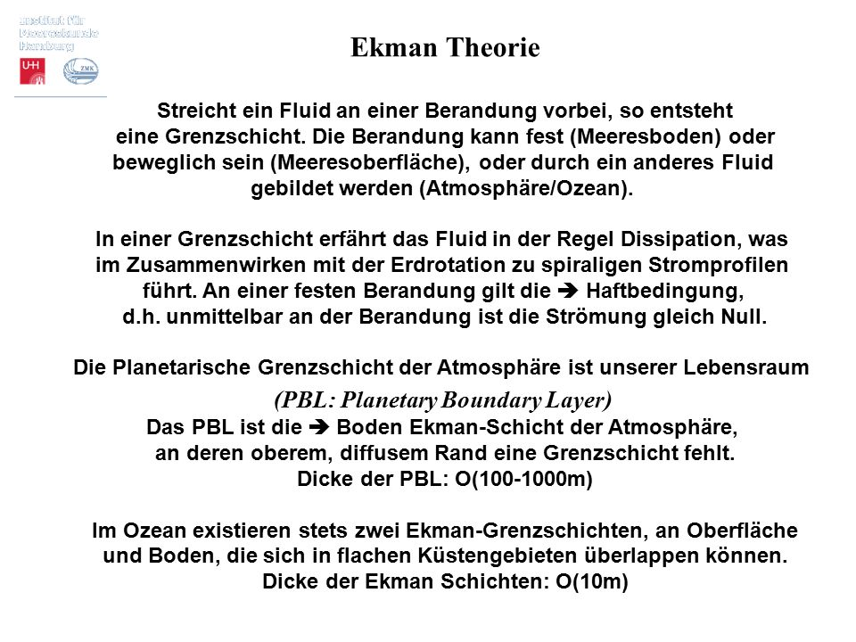 Ekman Theorie (PBL: Planetary Boundary Layer)