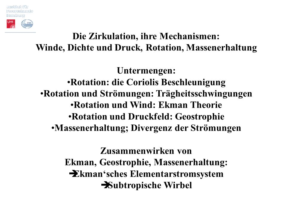 Die Zirkulation, ihre Mechanismen: