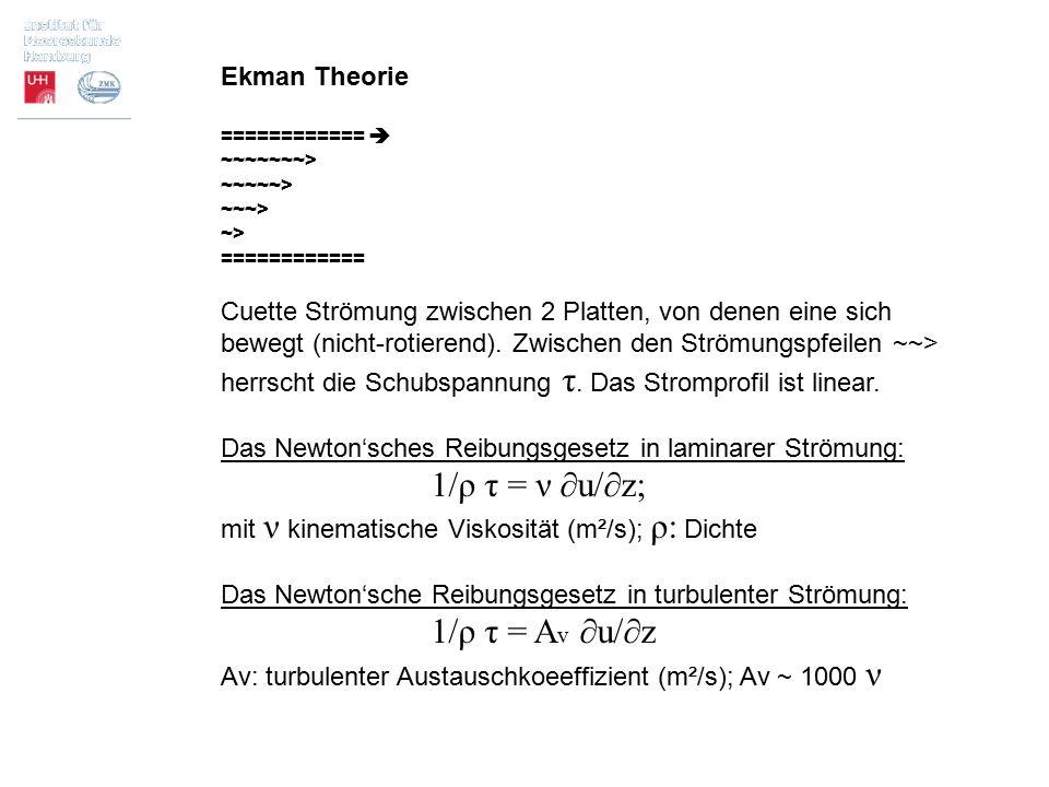 1/ρ τ = ν ∂u/∂z; Ekman Theorie
