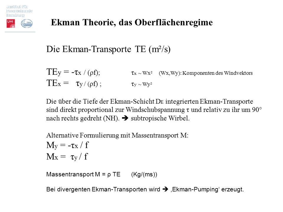 Ekman Theorie, das Oberflächenregime