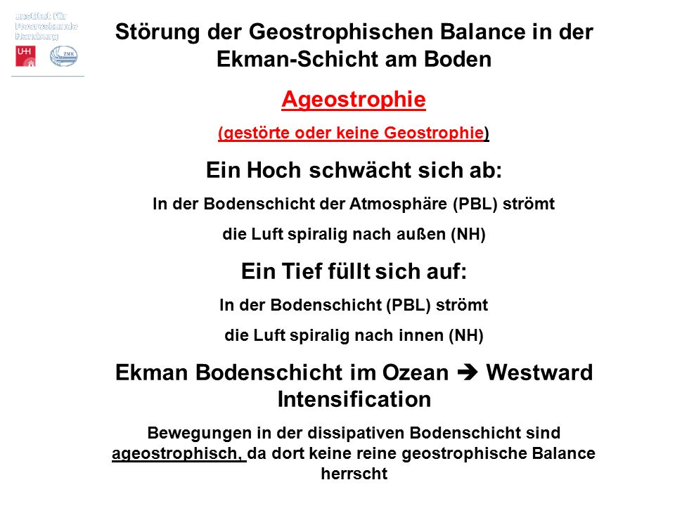 Störung der Geostrophischen Balance in der Ekman-Schicht am Boden