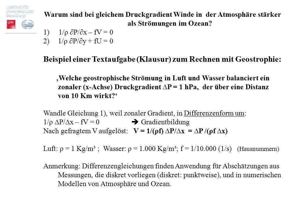 Beispiel einer Textaufgabe (Klausur) zum Rechnen mit Geostrophie: