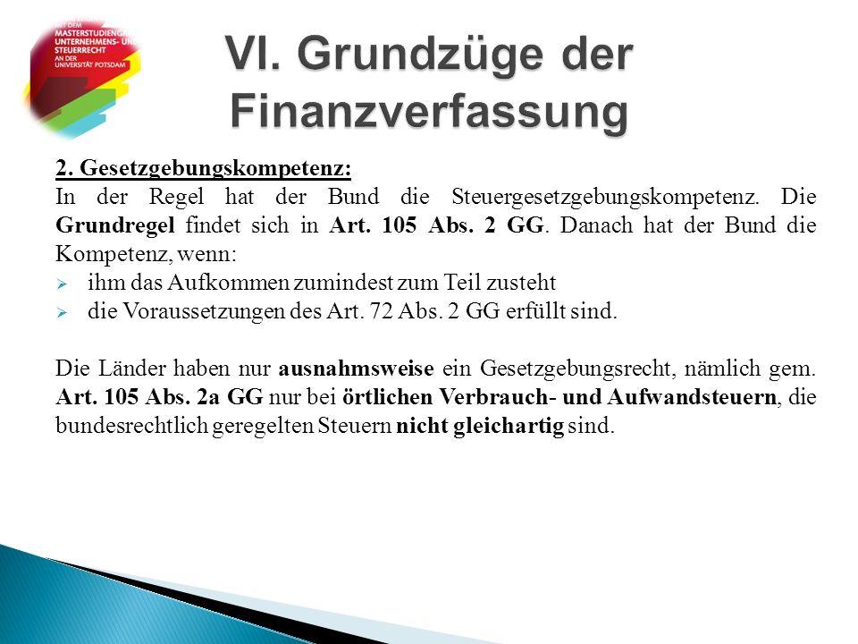 VI. Grundzüge der Finanzverfassung