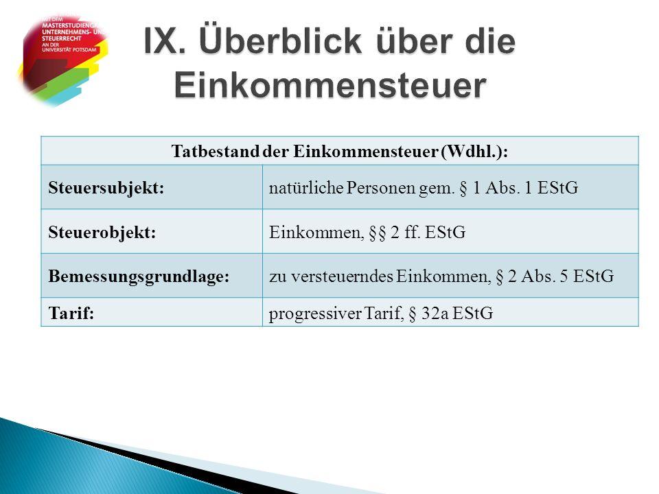 IX. Überblick über die Einkommensteuer