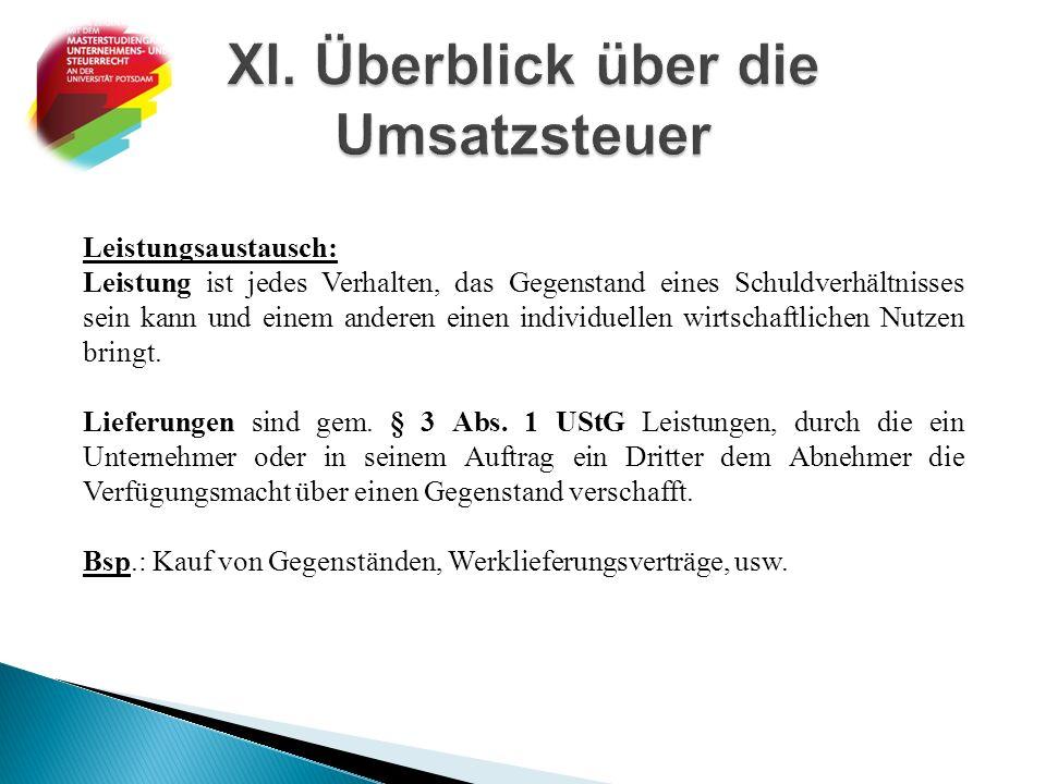 XI. Überblick über die Umsatzsteuer