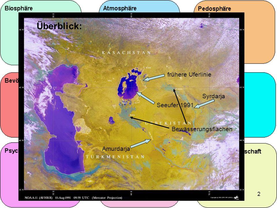 Überblick: frühere Uferlinie Syrdarja Seeufer 1991 Bewässerungsflächen