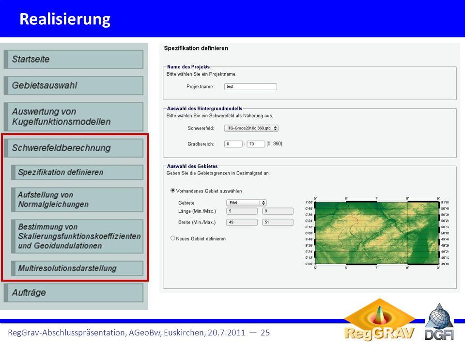 Realisierung RegGrav-Abschlusspräsentation, AGeoBw, Euskirchen, 20.7.2011 — 25