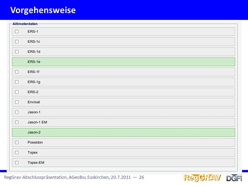 Vorgehensweise RegGrav-Abschlusspräsentation, AGeoBw, Euskirchen, 20.7.2011 — 26