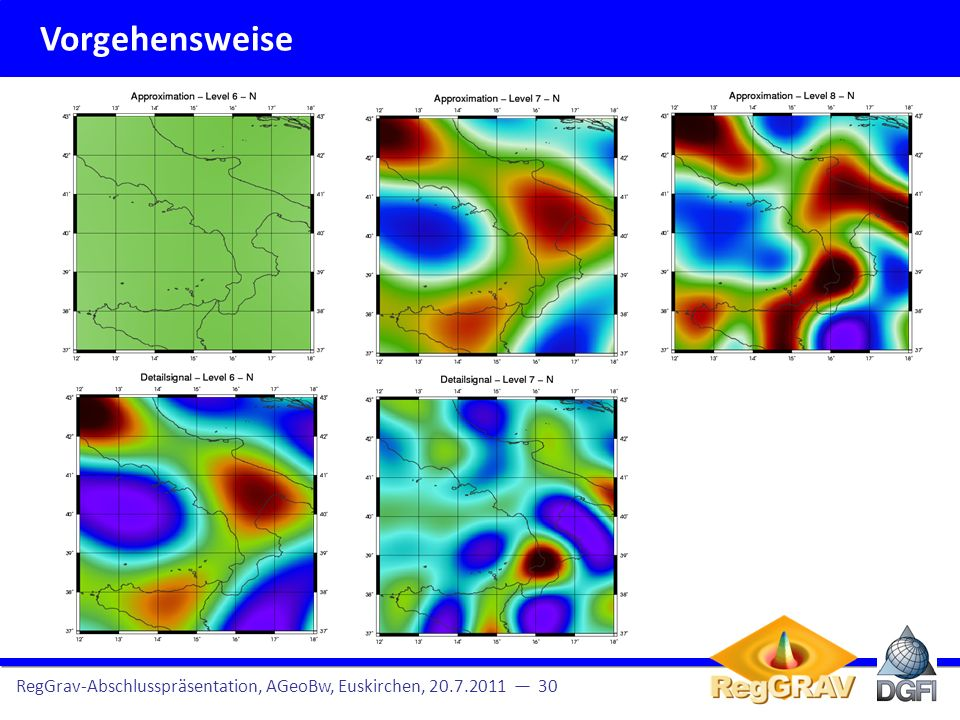 Vorgehensweise RegGrav-Abschlusspräsentation, AGeoBw, Euskirchen, 20.7.2011 — 30