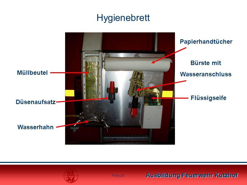 Hygienebrett Papierhandtücher Bürste mit Wasseranschluss Müllbeutel