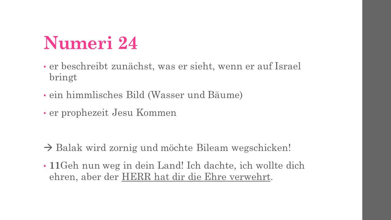 Numeri 24 er beschreibt zunächst, was er sieht, wenn er auf Israel bringt. ein himmlisches Bild (Wasser und Bäume)
