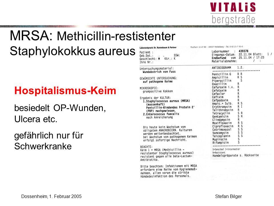 MRSA: Methicillin-restistenter Staphylokokkus aureus