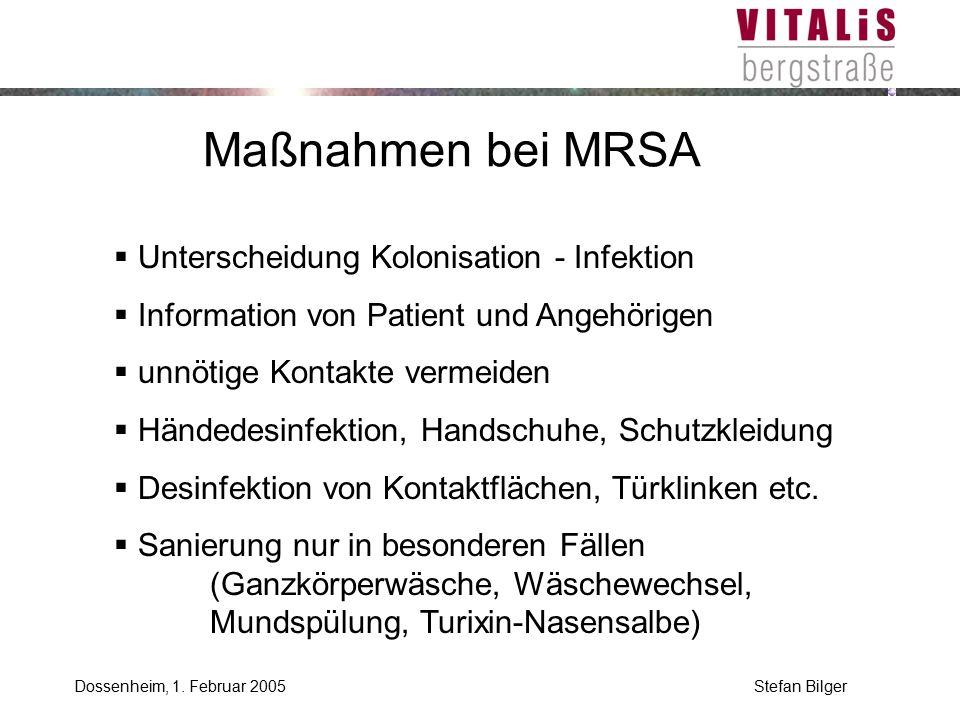 Maßnahmen bei MRSA Unterscheidung Kolonisation - Infektion