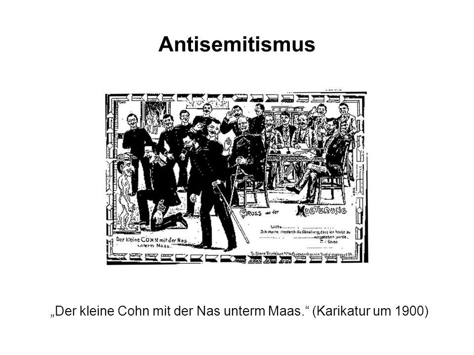 """""""Der kleine Cohn mit der Nas unterm Maas. (Karikatur um 1900)"""