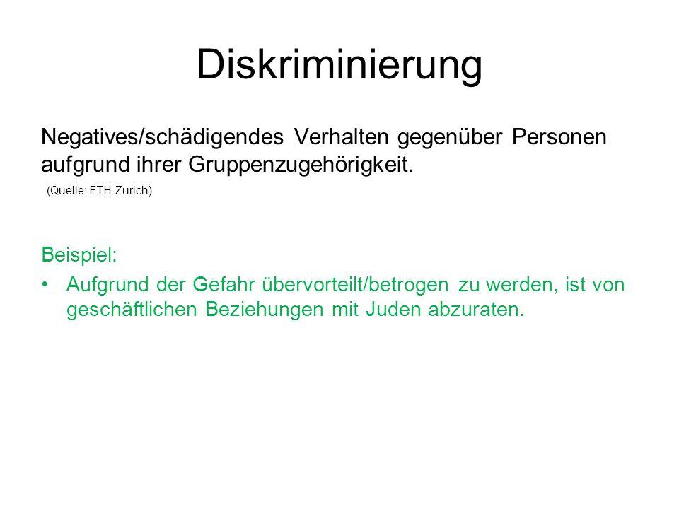 Diskriminierung Negatives/schädigendes Verhalten gegenüber Personen aufgrund ihrer Gruppenzugehörigkeit.
