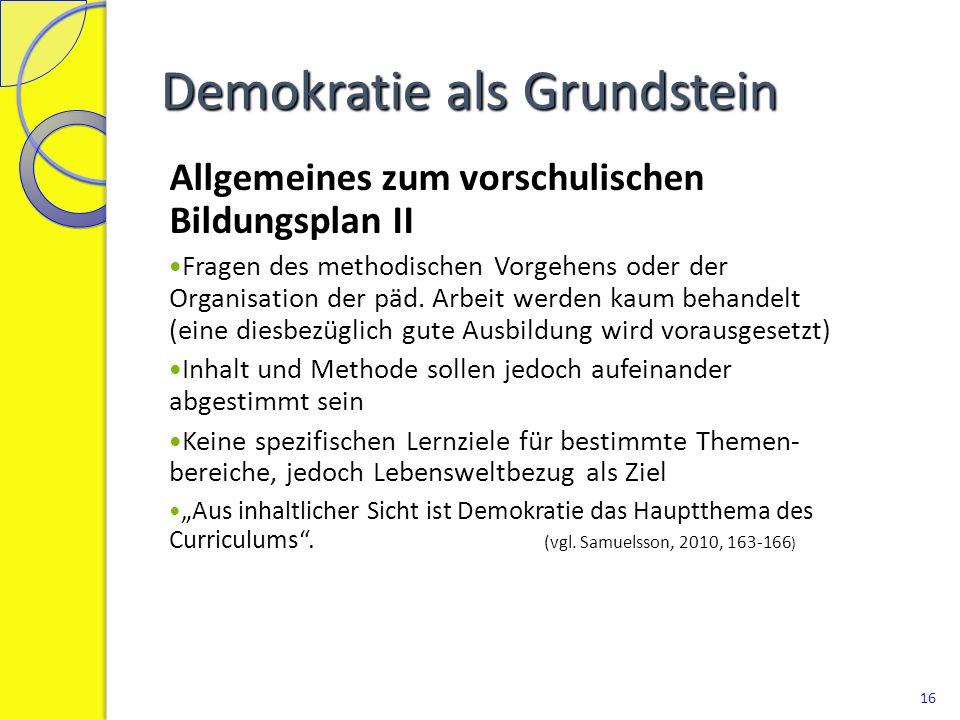 """Gruppenarbeit Vergleich mit dem Orientierungsrahmen Welche Rolle spielt der Demokratiebegriff im """"Fundament des Orientierungsrahmens."""