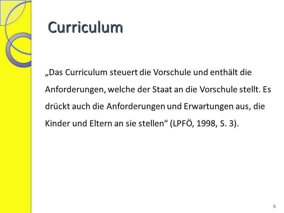 Curriculum: Ziele und Richtlinien