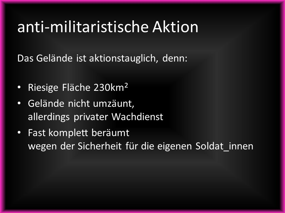 anti-militaristische Aktion