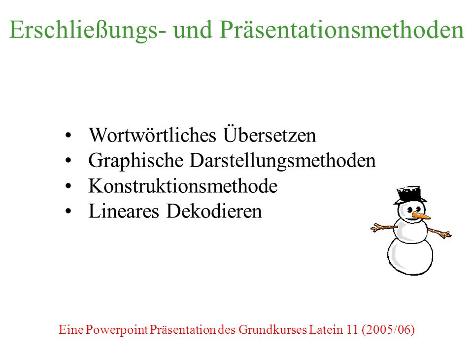 Erschließungs- und Präsentationsmethoden