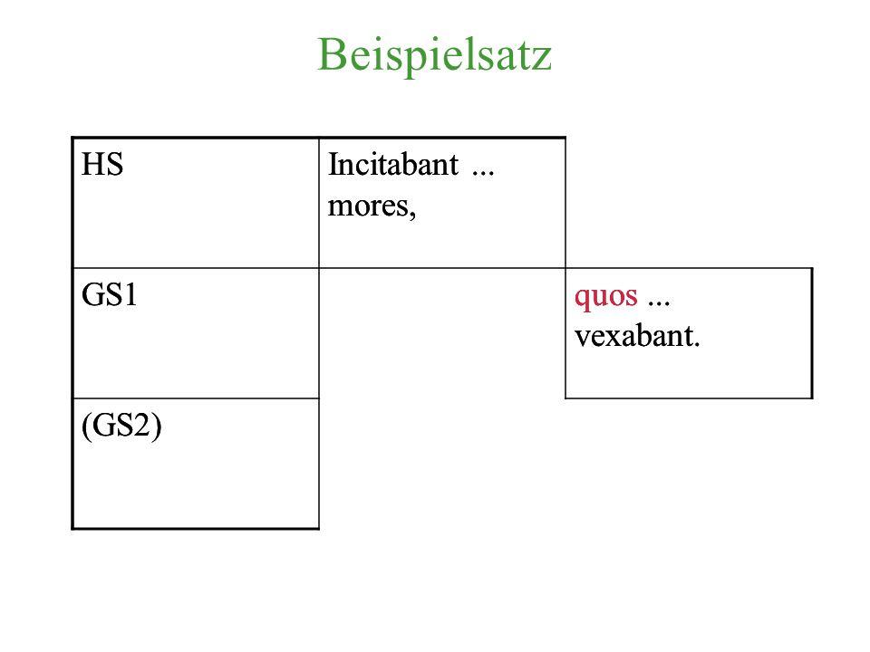 Beispielsatz HS Incitabant ... mores, GS1 quos ... vexabant. (GS2) HS