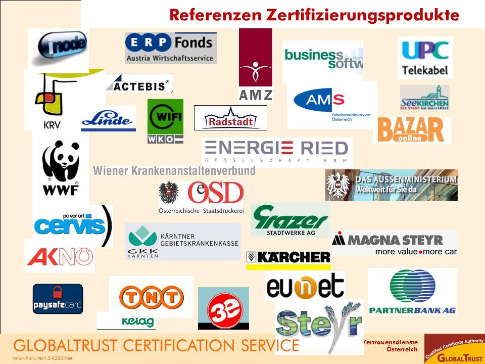 Referenzen Zertifizierungsprodukte