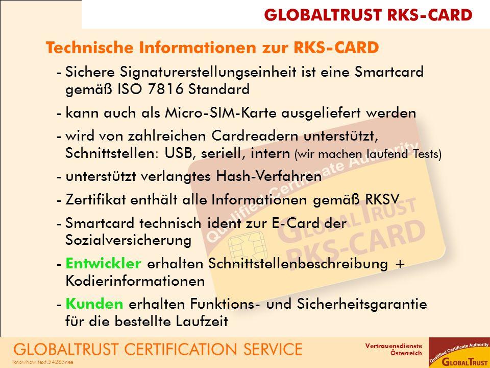Technische Informationen zur RKS-CARD