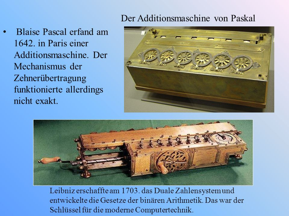 Der Additionsmaschine von Paskal
