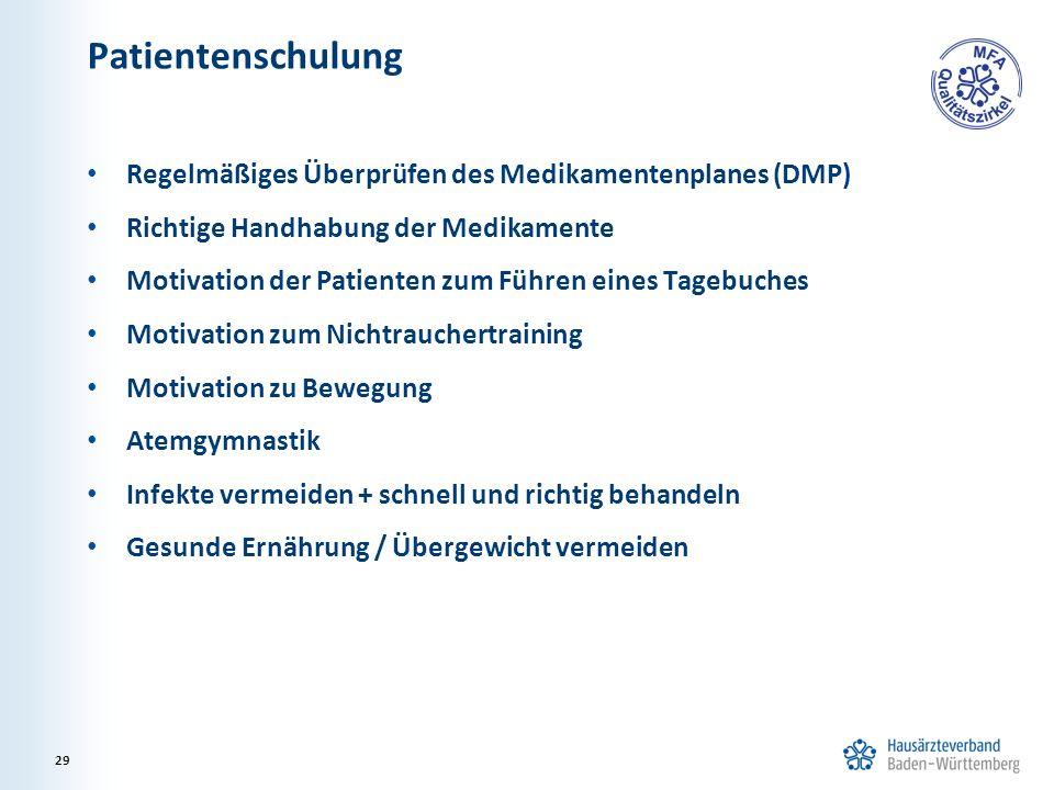 Patientenschulung Regelmäßiges Überprüfen des Medikamentenplanes (DMP)
