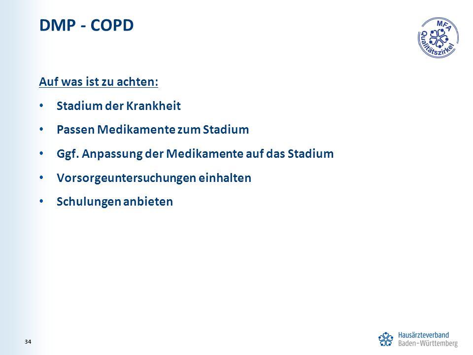DMP - COPD Auf was ist zu achten: Stadium der Krankheit