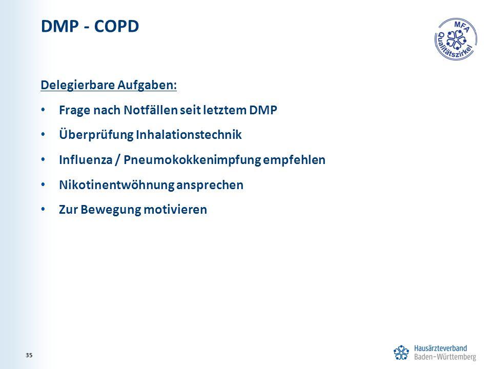 DMP - COPD Delegierbare Aufgaben: