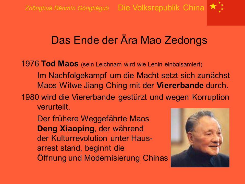 Das Ende der Ära Mao Zedongs