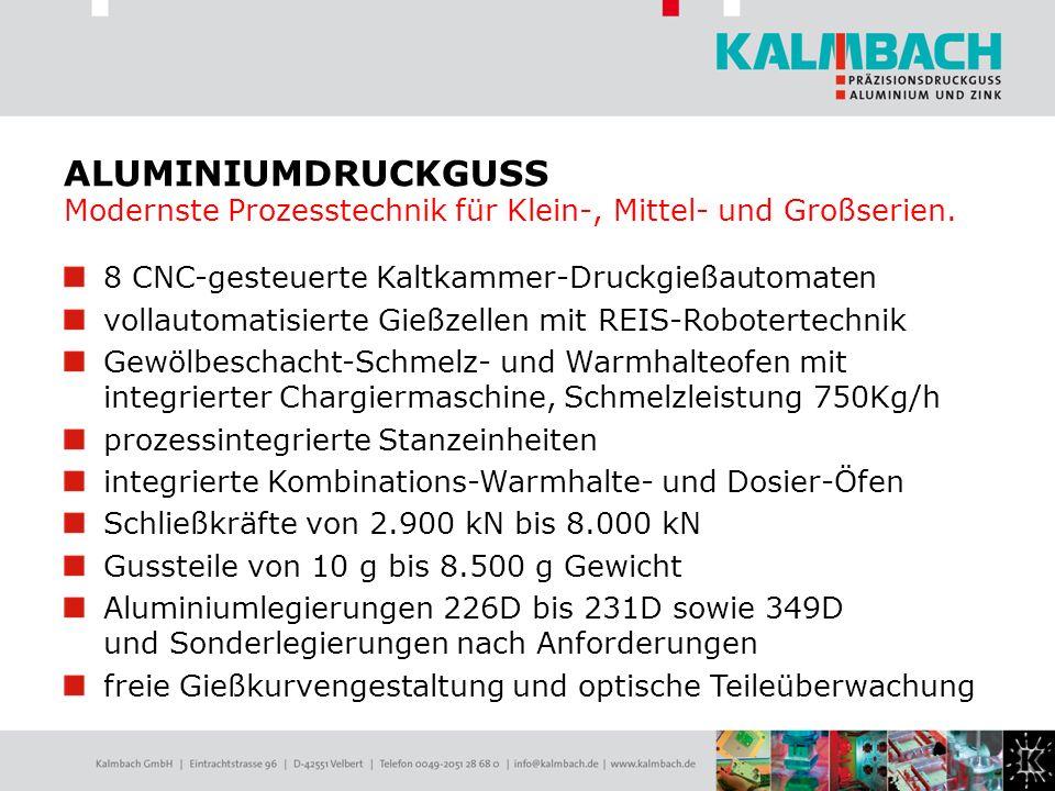 ALUMINIUMDRUCKGUSS Modernste Prozesstechnik für Klein-, Mittel- und Großserien.