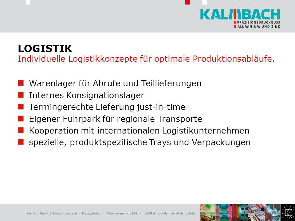 LOGISTIK Individuelle Logistikkonzepte für optimale Produktionsabläufe.