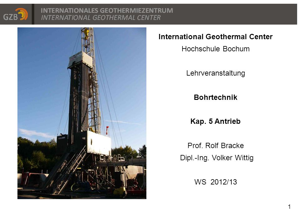 Titelfolie International Geothermal Center Hochschule Bochum
