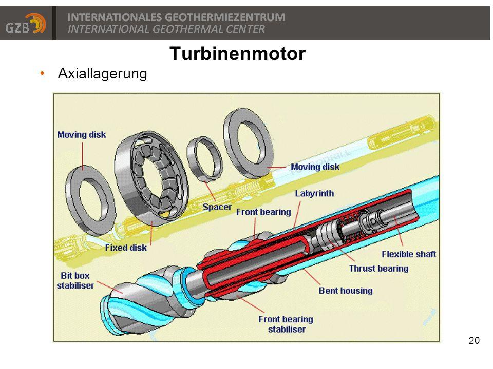 Turbinenmotor Axiallagerung
