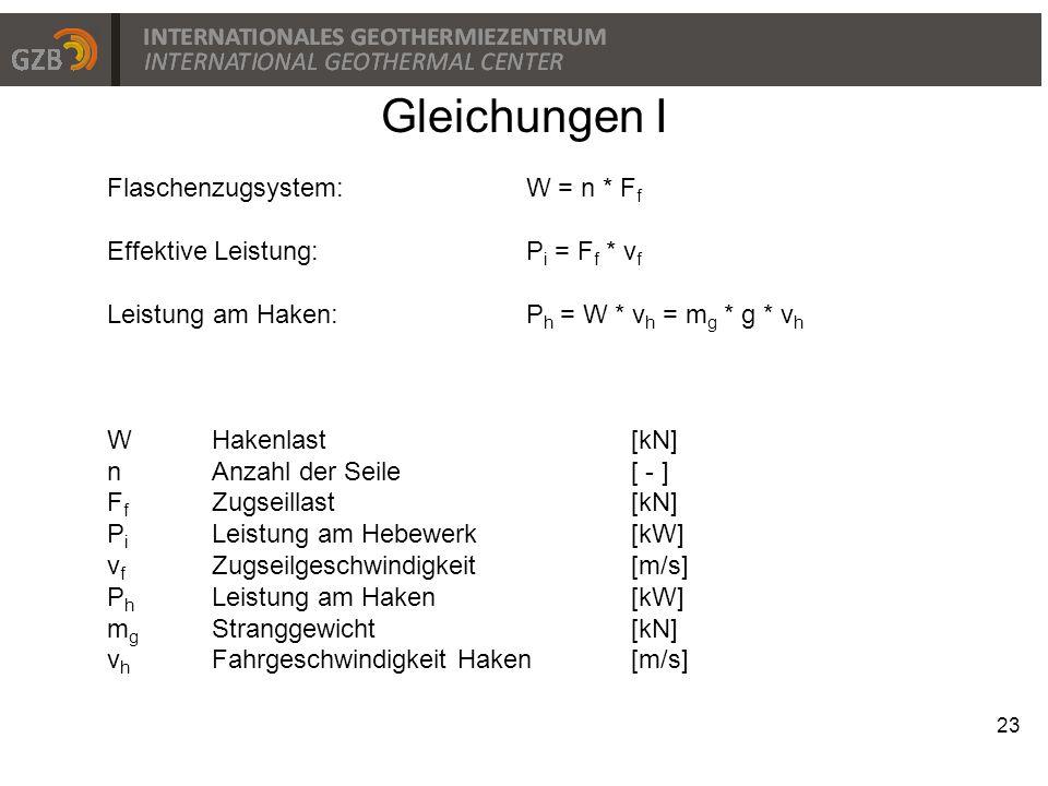 Gleichungen I Flaschenzugsystem: W = n * Ff