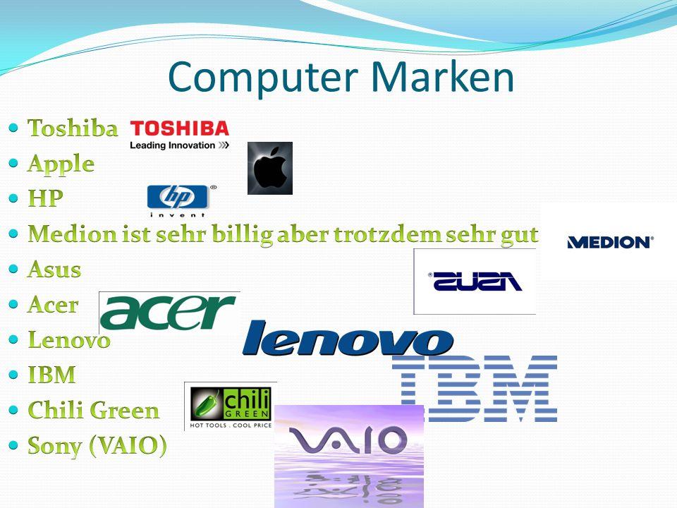 Computer Marken Toshiba Apple HP