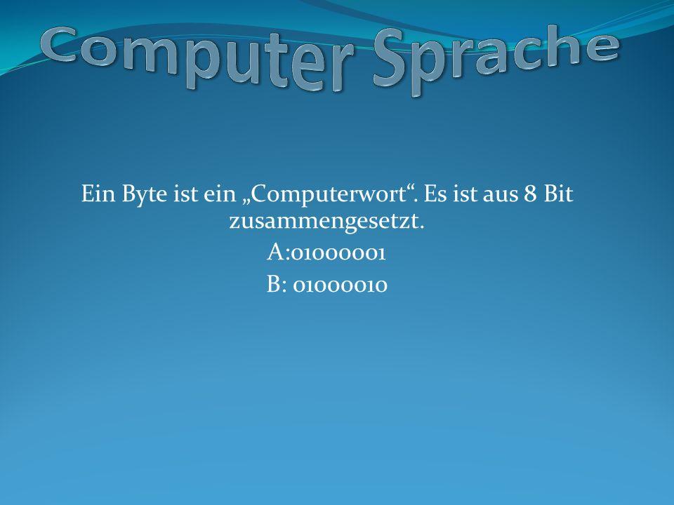 """Ein Byte ist ein """"Computerwort . Es ist aus 8 Bit zusammengesetzt."""