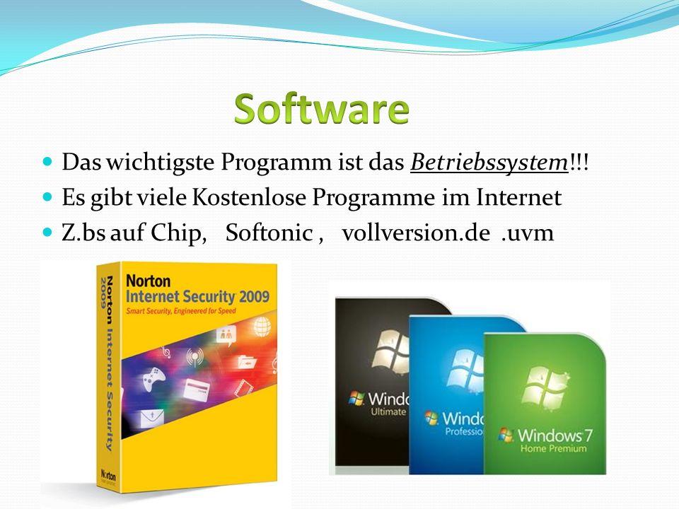 Software Das wichtigste Programm ist das Betriebssystem!!!