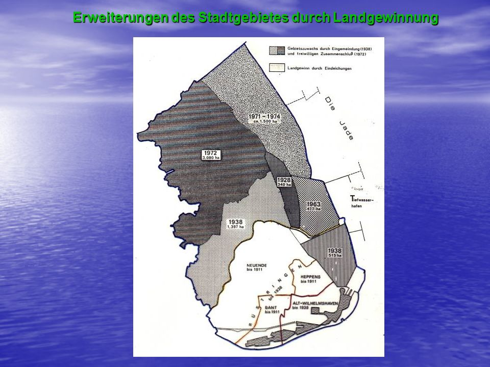 Erweiterungen des Stadtgebietes durch Landgewinnung