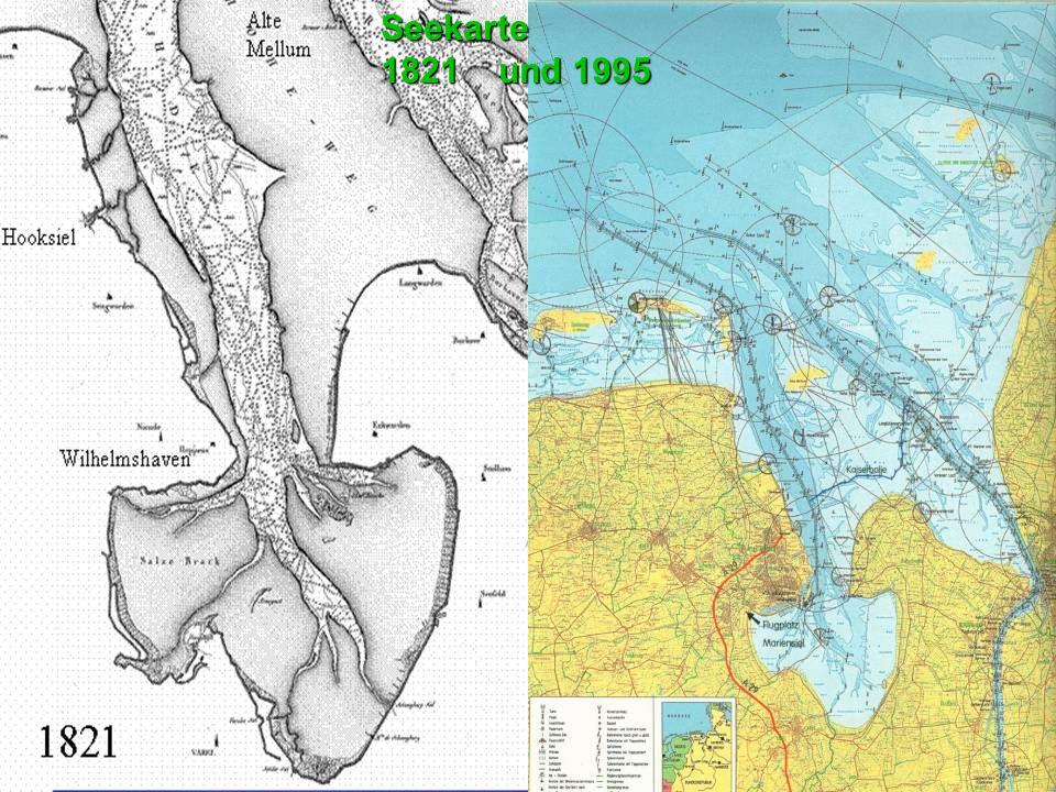 Seekarte 1821 und 1995. Die Mündung des Jadebusens mit dem Fahrwasser der Jade: