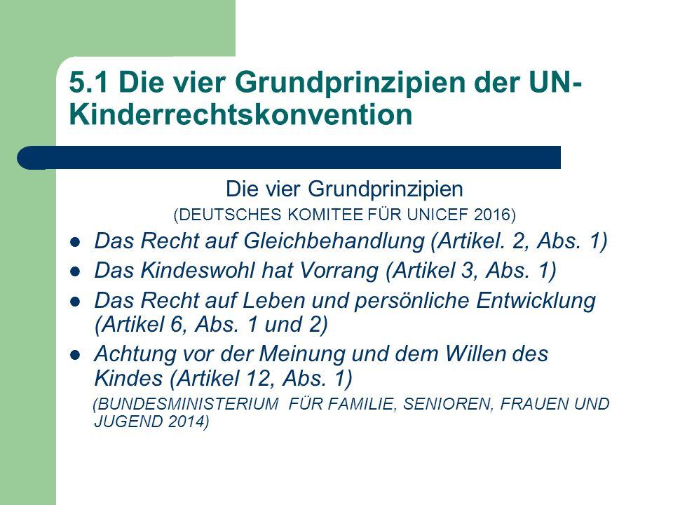 5.1 Die vier Grundprinzipien der UN- Kinderrechtskonvention