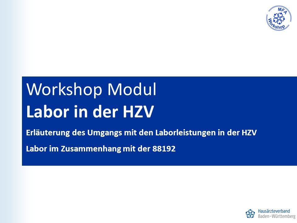 Workshop Modul Labor in der HZV