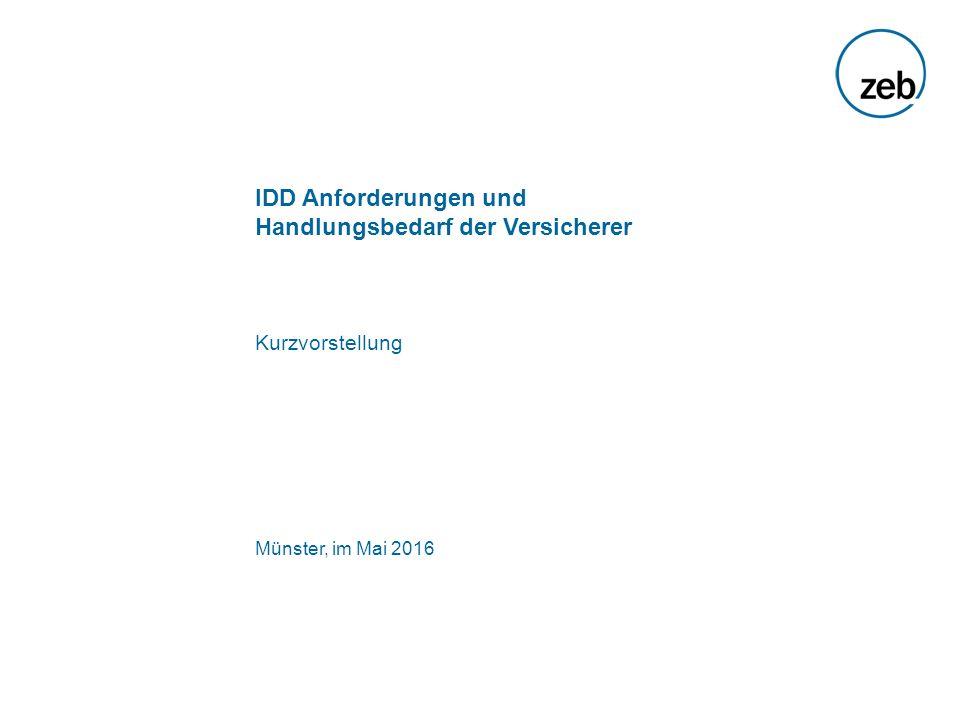 IDD Anforderungen und Handlungsbedarf der Versicherer