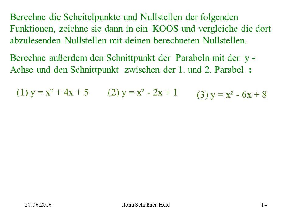 Berechne die Scheitelpunkte und Nullstellen der folgenden Funktionen, zeichne sie dann in ein KOOS und vergleiche die dort abzulesenden Nullstellen mit deinen berechneten Nullstellen.