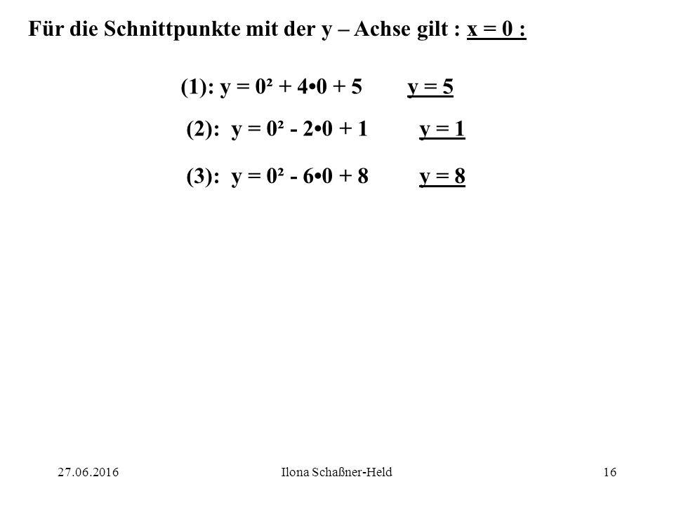 Für die Schnittpunkte mit der y – Achse gilt : x = 0 :